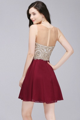 Sheath Jewel Chiffon Short Homecoming Party Dresses With Applique_4