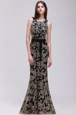 Sheath Round Neck Floor-Length Lace Evening Dresses_4
