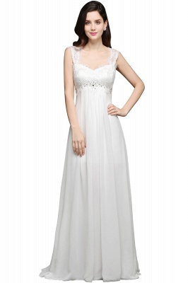 A-line Sweetheart Chiffon White Evening Dress With Lace_1