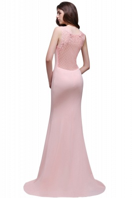 Mermaid Sheer Floor-Length Long Prom Dresses With Applique_5