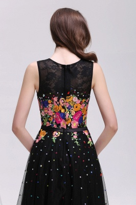 A-line Jewel Neck Tulle Black Prom Dresses with Embroidery Flowers_6