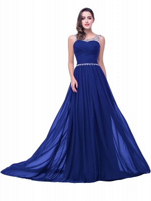 AIMEE | A-line Court Train Chiffon Party Dress With  Beading_4
