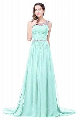 AIMEE | A-line Court Train Chiffon Party Dress With  Beading_8