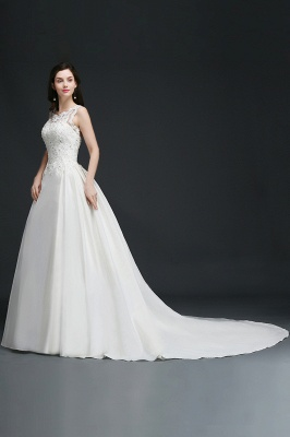 A-line Sweep Train Elegant Wedding Dress With Beading_5