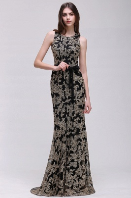 Sheath Round Neck Floor-Length Lace Evening Dresses_6