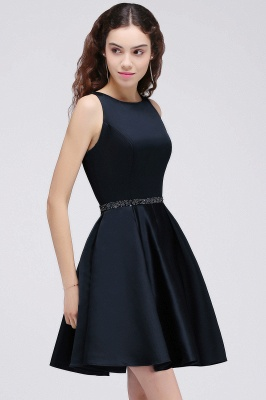 A-Line Round Neck Short Dark Navy Homecoming Dresses With Crystal_4
