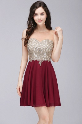 Sheath Jewel Chiffon Short Homecoming Party Dresses With Applique_3