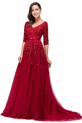 A-Line Floor-Length V-neck Half Sleeves Lace Appliques Prom Dresses_6