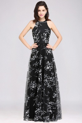A-line Floor Length Black Evening Dresses with Flowers_3