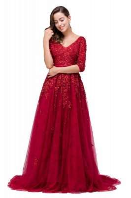 A-Line Floor-Length V-neck Half Sleeves Lace Appliques Prom Dresses_8