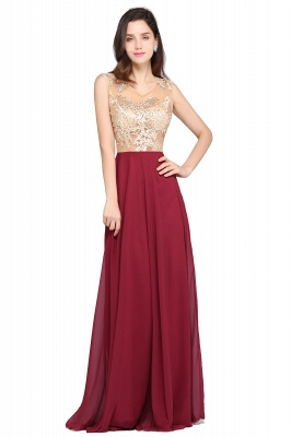 A-line Scoop Chiffon Burgundy Pretty Evening Dresses_2