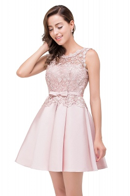 ADELAIDE | A-line Knee-length Satin Homecoming Dress with Lace_11