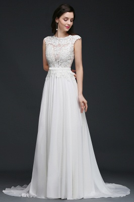 A-line Scoop Modest Wedding Dress With Lace Appliques_5