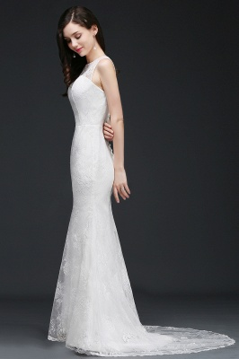 Mermaid Sweep Train Lace New Arrival Wedding Dresses with Buttons_7