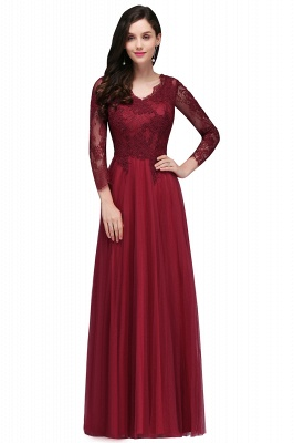 DYLAN | A-line V-neck Long Sleeves Lace Tulle Backless Prom Dresses_4