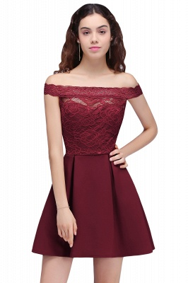 BROOKLYN | A-Line Off-the-shoulder Short Lace Burgundy Homecoming Dresses_2