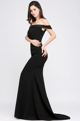 Mermaid Sweep Train Off The Shoulder Black Evening Dresses_6