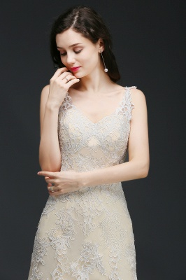 A-line V-Neck Sweep Train Champagne Prom Dresses with Buttons_7