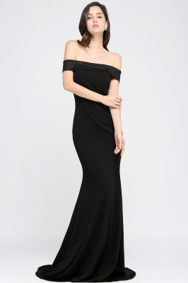 Mermaid Sweep Train Off The Shoulder Black Evening Dresses_3