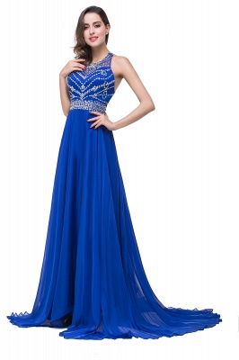 ELLA | A-line Crew Floor-length Sleeveless Tulle Prom Dresses with Crystal Beads_5