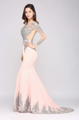 ARELY | Mermaid Sweep Train Pink Elegant Evening Dresses with Appliques_8