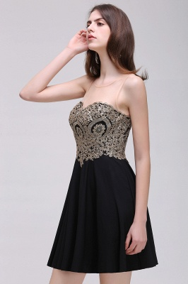 CAITLIN   A-line Short Chiffon Black Homecoming Dresses with Appliques_7