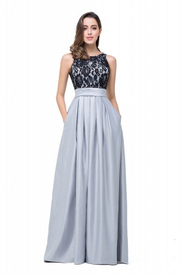 ELLIE | A-line Floor-length Crew Chiffon Lace Bridesmaid Dresses_7