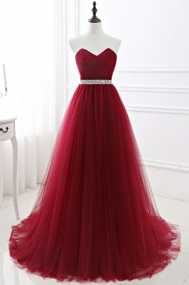 ANGELINA | A-line Sweetheart Burgundy Tulle Prom Dress With Beading_9