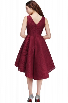 Cheap Burgundy Hi-lo A Line V neck Lace Cocktail Party Dresses_5