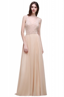 Sheath Sheer Chiffon Long Evening Dresses With Pearls_6
