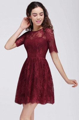 BRITTANY | A-Line Round Neck Short Lace Burgundy Homecoming Dresses_5