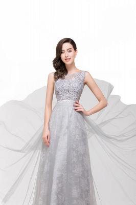 A-Line Sleeveless Illusion Floor-Length Tulle Prom Dresses with Embroidered Flowers_6