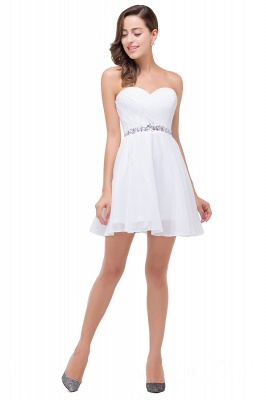 A-line Sweetheart Short Prom Dresses with Beadings_5