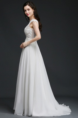 A-line Scoop Modest Wedding Dress With Lace Appliques_6