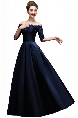 ELLISON | A-line Half Sleeve Floor-length Off-shoulder Appliques Prom Dresses_3