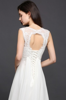 A-line Sweetheart Chiffon White Evening Dress With Lace_5