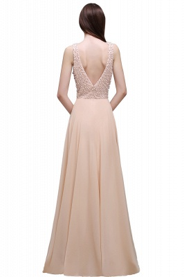Sheath Sheer Chiffon Long Evening Dresses With Pearls_1