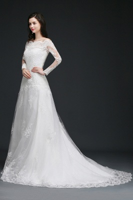 ADELYNN | A-line Sweep-train Ivory Wedding Dress with Lace_4