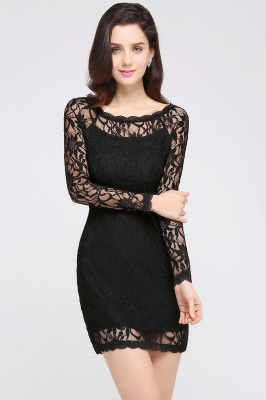 Sexy Black Lace Long Sleeves Mermaid Prom Dresses_10