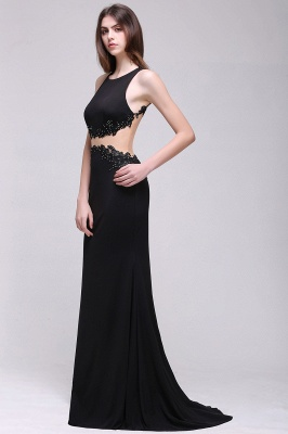 Sheath Round Neck Floor-Length Black Prom Dresses With Crystal_5