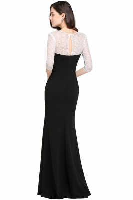 Mermaid Floor Length Black Evening Dresses with Lace_2