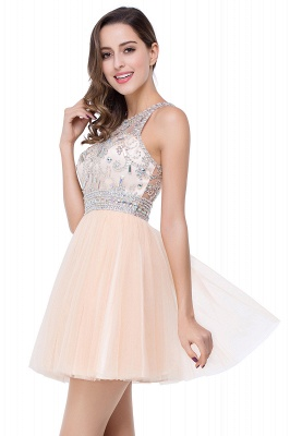 ELISA | A-line Crew Sleeveless Tulle Short Prom Dresses with Beadings_10