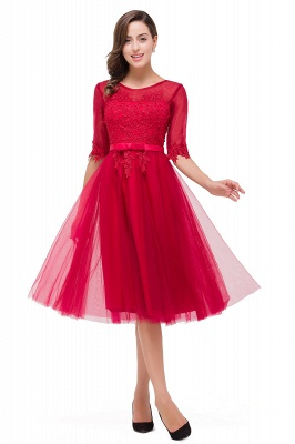 FINLEY | A-Line Half Sleeves Knee Length Tulle Prom Dresses with Embroidered Flowers_1
