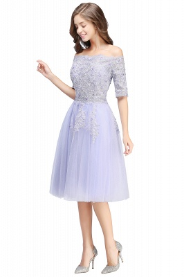 A-line Bateau Tulle Prom Dress with Appliques_8