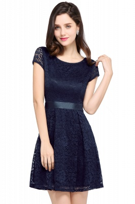 ARMANI | A-line Scoop Black Lace Homecoming Dress with Sash_5