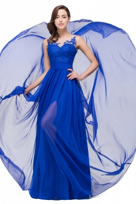 A-line Scoop-Neck Floor-length Sleeveless Chiffon Prom Dresses with Appliques_5