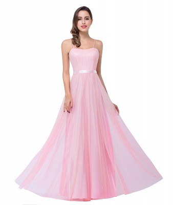 ELLIS | A-line Sweetheart Floor-length Pink Tulle Ruffles Bridesmaid Dresses_11