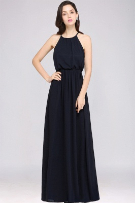 CHEYENNE | A-line Floor-length Chiffon Navy Blue Simple Prom Dress_6