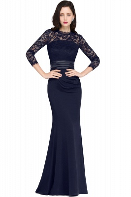 ARIANNA | Sheath High Neck Black Elegant Evening Dresses with Lace_4