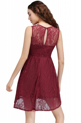 BRIELLE | A-Line Round Neck Short Lace Burgundy Homecoming Dresses_2